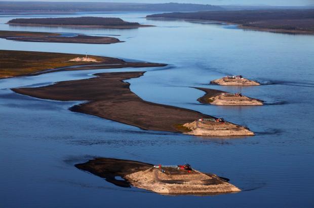 Artificial Islands on the Mackenzie River, Norman Wells, Sahtu Region