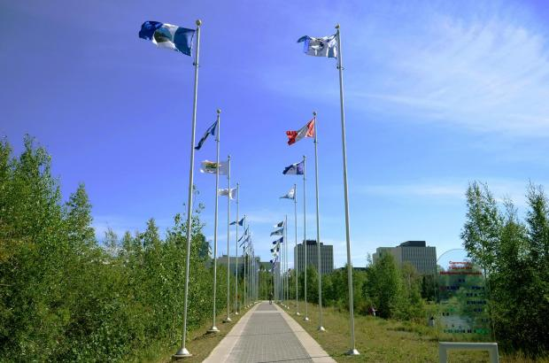 Community Flags of the NWT, Downtown Yellowknife, North Slave Region