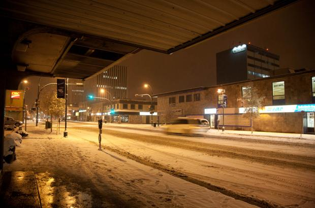 Winter on Franklin (50th) Avenue, Yellowknife, North Slave Region